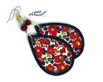 Drop earrings red liberty Betsy Anne beleu fabric