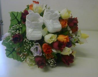 Pair of booties, birth, baptism white keepsake gift
