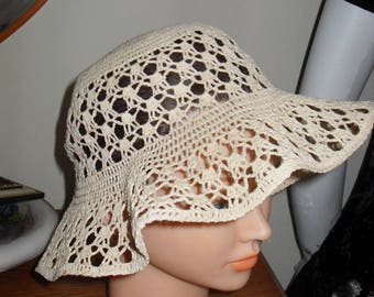 Crochet hat, cotton, size  56cm