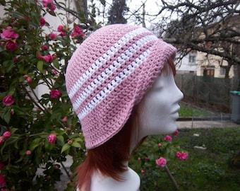 Hat is made crochet (pink and white). #Collection was