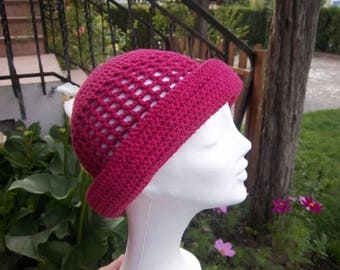 Woman hat in raspberry pink cotton crochet #Collection was