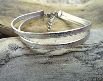 Leather bracelet 2 links silver Boho jewelry By Dodie
