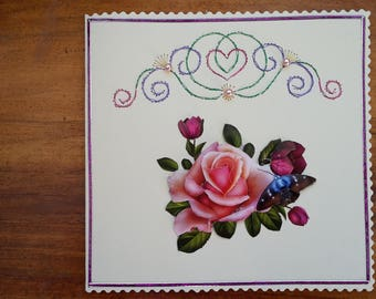 BOUQUET of ROSES - card 3 D hand