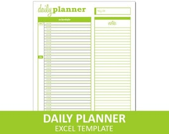 Basic Daily Planner - Green | Printable Excel Planner Template | Daily Schedule | Instant Digital Download