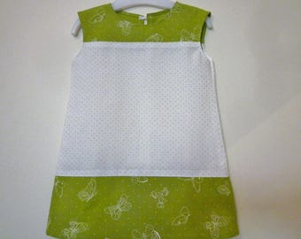 Dress baby green and white polka dots and butterflies, size 12 months