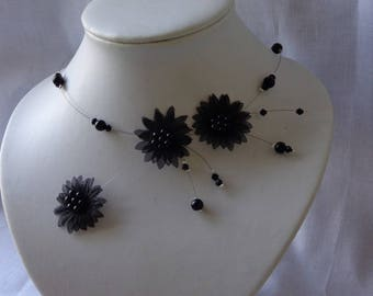 Black wedding bridal organza flower bridal unique