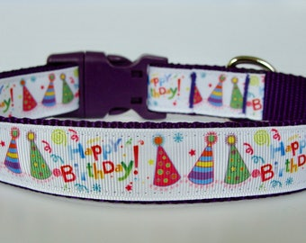 Happy Birthday Party Hat Dog Collar - Purple - Ready to Ship!