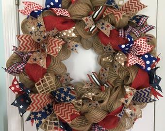 Patriotic Wreath ~ Burlap Patriotic Wreath ~ July 4th Wreath ~ Americana Wreath ~ Memorial Day Wreath