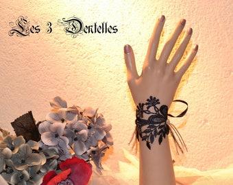 Black Lace wedding bracelet * bow *.