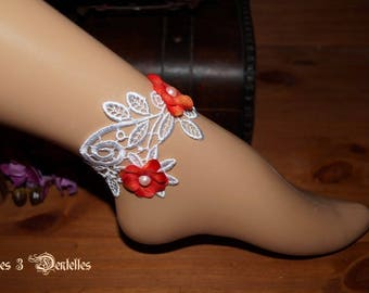 White lace wedding ankle bracelet * flowers *.