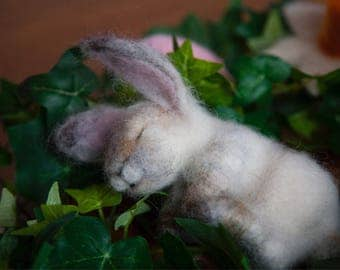 Needle Felt Tiny, Dreamy, Bunny.