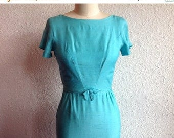 SALE 1960s Robin egg blue silk dress