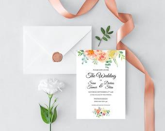 Printable Citrus Blooms Wedding Invitation