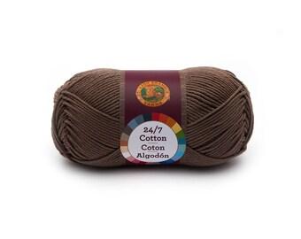 Cafe Au Lait Brown Cotton Yarn; Worsted, Mercerized Cotton; Crocheting, Knitting, Macramé, Yarn, Cord, Thread, Twine 186 yards 3.5oz