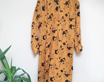 Vintage Mustard Floral Midi Dress 80s Dress