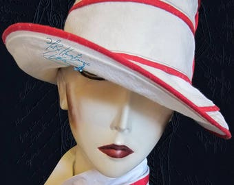 chic summer hat, metis linen sand beige and red, 58-59-L, elegance, a retro, Sun Hat