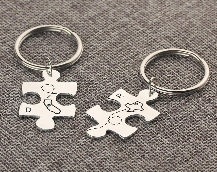 Texas California State Map Keychain Couple Matching Keychain