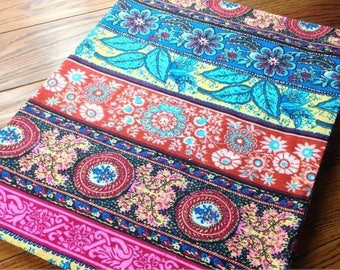 Patchwork haillement fabrics cotton red blue linen 3 m