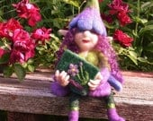 Violet the Flower Pixie, Needle Felted Pixie, Flower Fairy, Spring fairytale Decor, Pixie Ornament, Wool Pixie Doll, Fiber Art