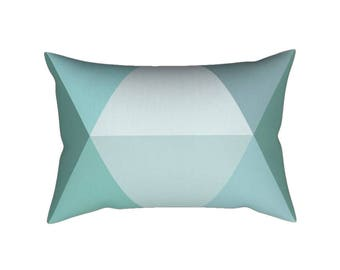 Teal lumbar pillow + INSERT. Teal pillow Turquoise pillow Geometric throw pillow nordic cushion geometric pillow Teal cushion teal decor