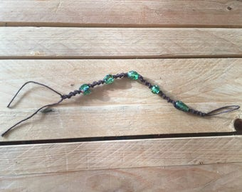 Brown Hemp Bracelet with Beads