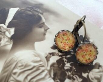Earrings ' retro orange stud earring