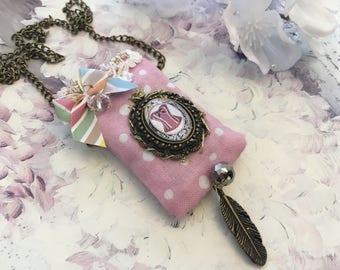 fragrant Lavender Locket pendant corset necklace