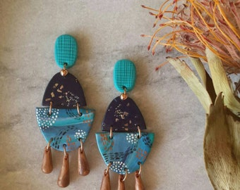 Polymer Clay Earrings, Hand-painted Earrings, Dangle Earrings, Clay Earrings,  Statement earrings, Blue, Painted earrings, Abstract earrings