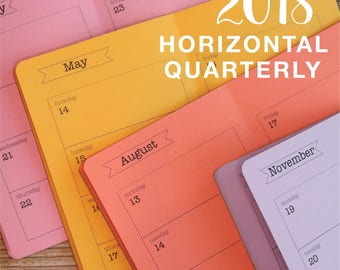 2018 - SAVE on a Bundle of 4 - MONTHLY/WEEKLY Horizontal Quarterly Calendars - Available in 8 sizes