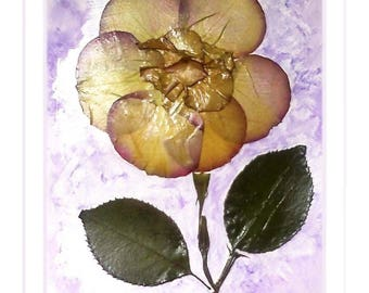 """""""Amber flower"""" white frame with real petals on a background painted with watercolors"""