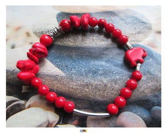 """""""Energy and healing"""" bracelet with coral and magnesite red elephant on silver metal Tibetan beads"""