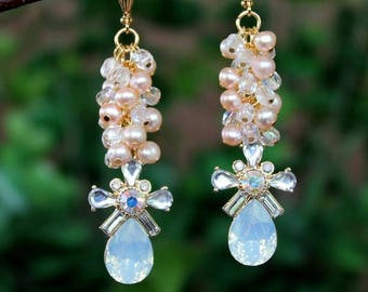 Opal Crystal Cluster Earrings.Freshwater Pearl.Jeweled.Statement.Bridal.Wedding.Formal.Long Earrings.Vintage.Luxury.Bold.White.Handmade.