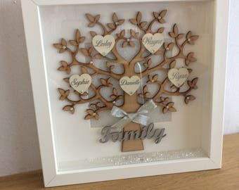 Family tree frame, framed family tree, family tree, mothers day gift, parents gift, grandparents gift, personalised gift, customised frame