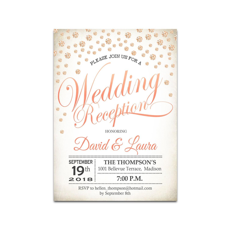 Wedding Reception Invitation / Printable Invitation / Rose Gold ...