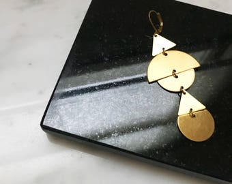 GEOMETRIC STACKED EARRINGS | brass earrings. gold earrings. dangle earrings. statement earrings. long earrings. modern earrings.