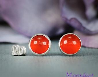 Dark Orange Carnelian Stud Earrings in Sterling - Silver Carnelian Gem Post Earrings - Petite Carnelian Modern Bezel Set Stud Earrings