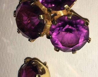 Amethyst pin and earring set
