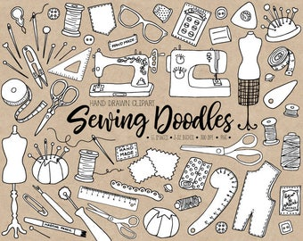 Hand Drawn Sewing Clipart. Doodle Dressmaking Clip Art. Tailor's, Crafts, Thread, Mannequin, Needle, Sewing Machine, Bobbins Illustrations