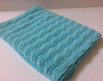 Hand knit blue baby blanket/machine washable hand knitted blue baby blanket/car seat baby blanket/stroller baby blanket/crib blanket