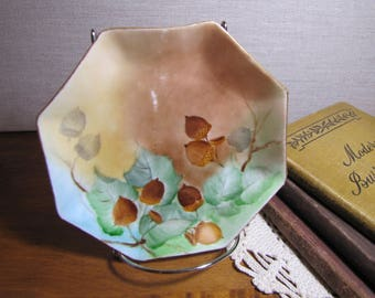 Victoria - Octagon Shaped Dessert Plate - Hand Painted Design of Acorns and Leaves - Brown and Green - Gold Accent - Made in Austria