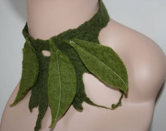 Earthy Felted Neck Warmer Merino Wool.OOAK. Green. Hand made. Rustic Wooden Button.Cowl.Neck Cuff. Wet Felted Tree Leaf Scarf/Shawl/Necklace