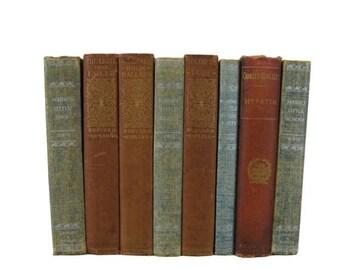 SALE SALE SALE Brown Blue Antique Books,  Distredded Vintage Books,  Decorative Books , Wedding Prop , Photo Prop ,  Vintage Books , Old Boo