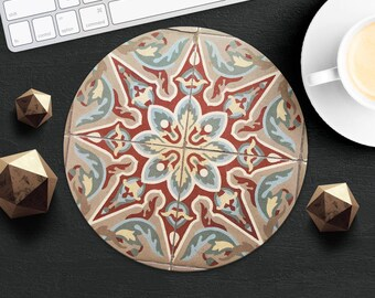MousePad Marble Mouse Pad Morocco MouseMat Round MousePad Idea Gift Style Print Fabric Mouse Mat Mice Desk Accessories Brown Tile MousePad