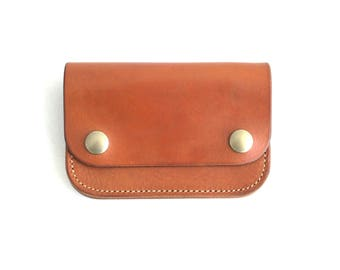 Leather Biker Wallet Hand made leather Saddle Tan Handcrafted by Celyfos®