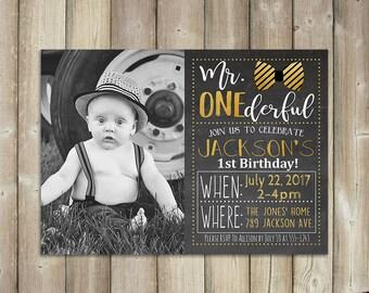 Mr. One-derful Birthday Invitation - Boy's First Birthday Invite - Gold - Bow Tie -  DIGITAL FILE