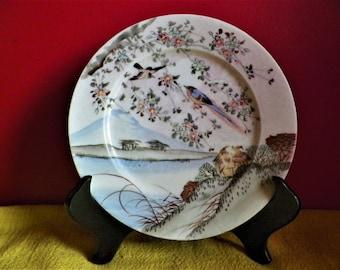 Japanese porcelain plate, Kutani period Taisho early twentieth century, pottery name Ukomi from Mr. Bojiro Kawado to Noriyuki 1920