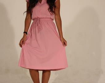 Pink Dress Pink Summer Dress Light Pink Dress Vintage Dress 80s Dress Sleeveless Dress Elastic Waist Dress Taurus II Waist Tie Small Dress