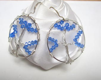 tree of life earrings blue artistic wire