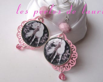 Pink and white horse earrings