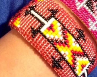Vintage Native American beaded cuff bracelet